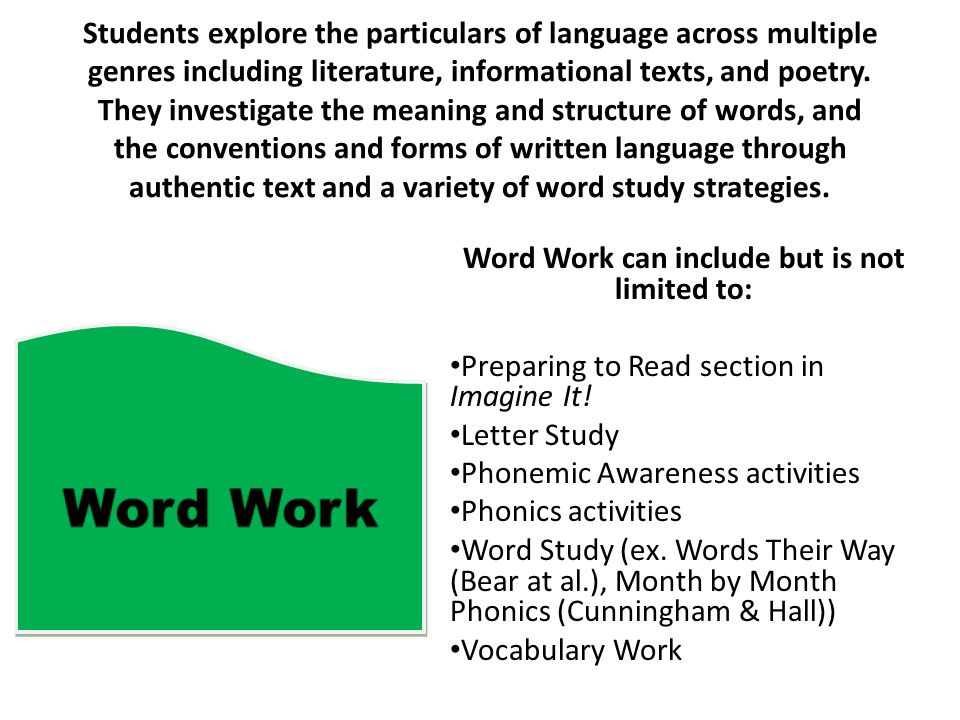Word Work can include but is not limited to: