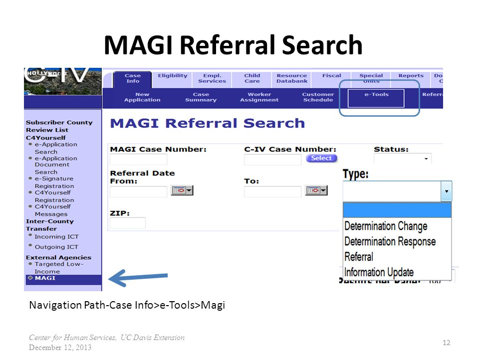 MAGI Referral Search Navigation Path-Case Info>e-Tools>Magi