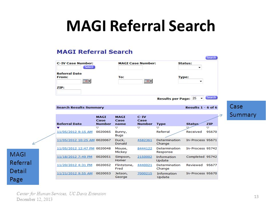 MAGI Referral Search Case Summary MAGI Referral Detail Page