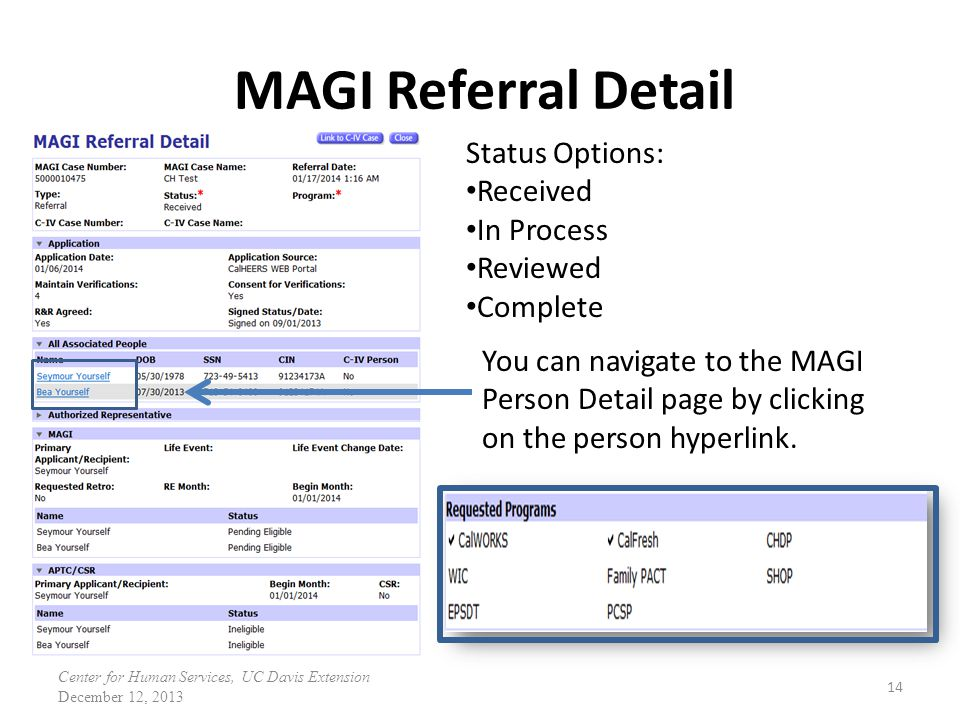 MAGI Referral Detail Status Options: Received In Process Reviewed
