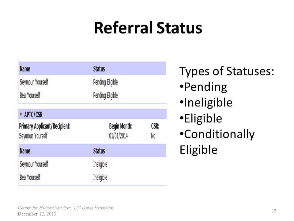 Referral Status Types of Statuses: Pending Ineligible Eligible