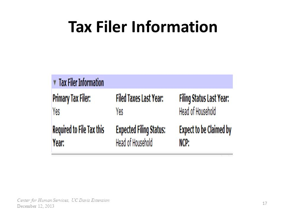 Tax Filer Information Center for Human Services, UC Davis Extension