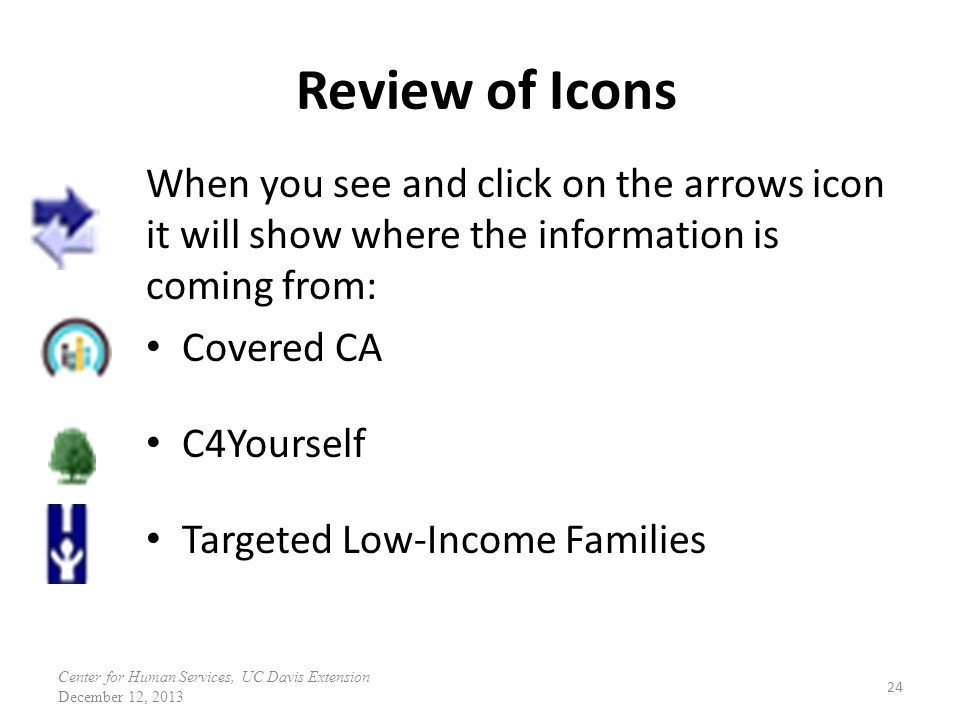 Review of Icons When you see and click on the arrows icon