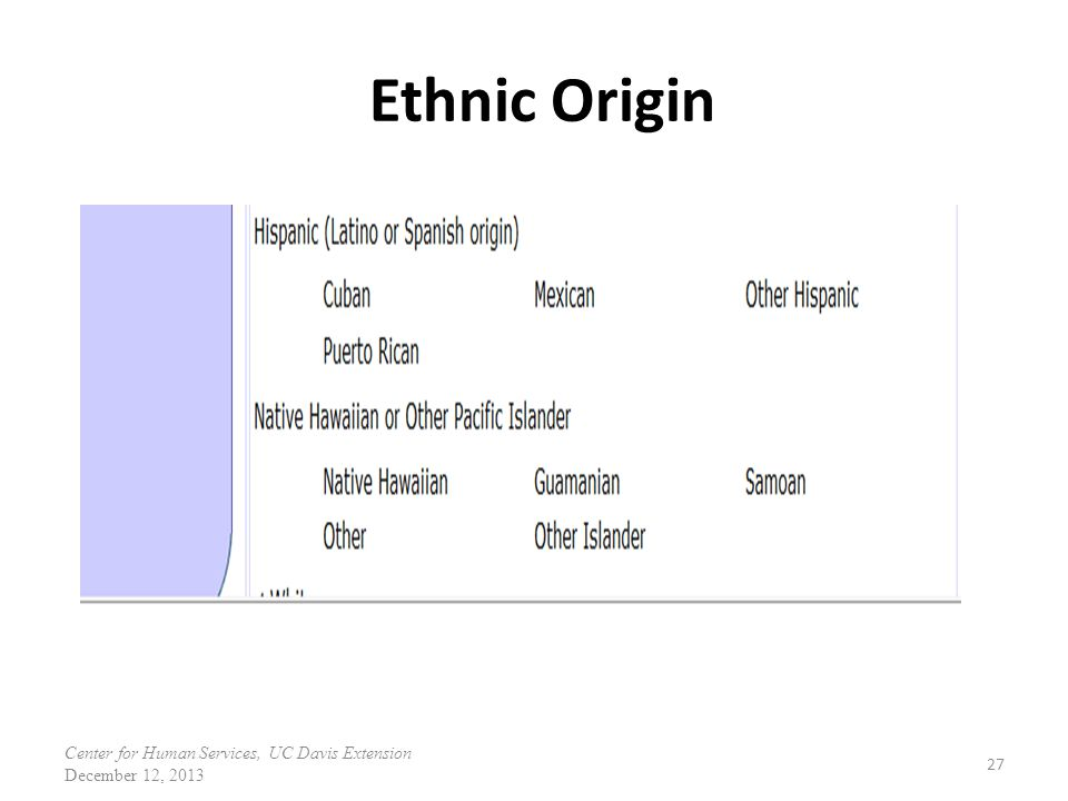 Ethnic Origin Under Hispanic additional ethnicity has been added.
