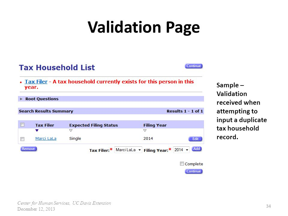 Validation Page Sample – Validation received when attempting to input a duplicate tax household record.