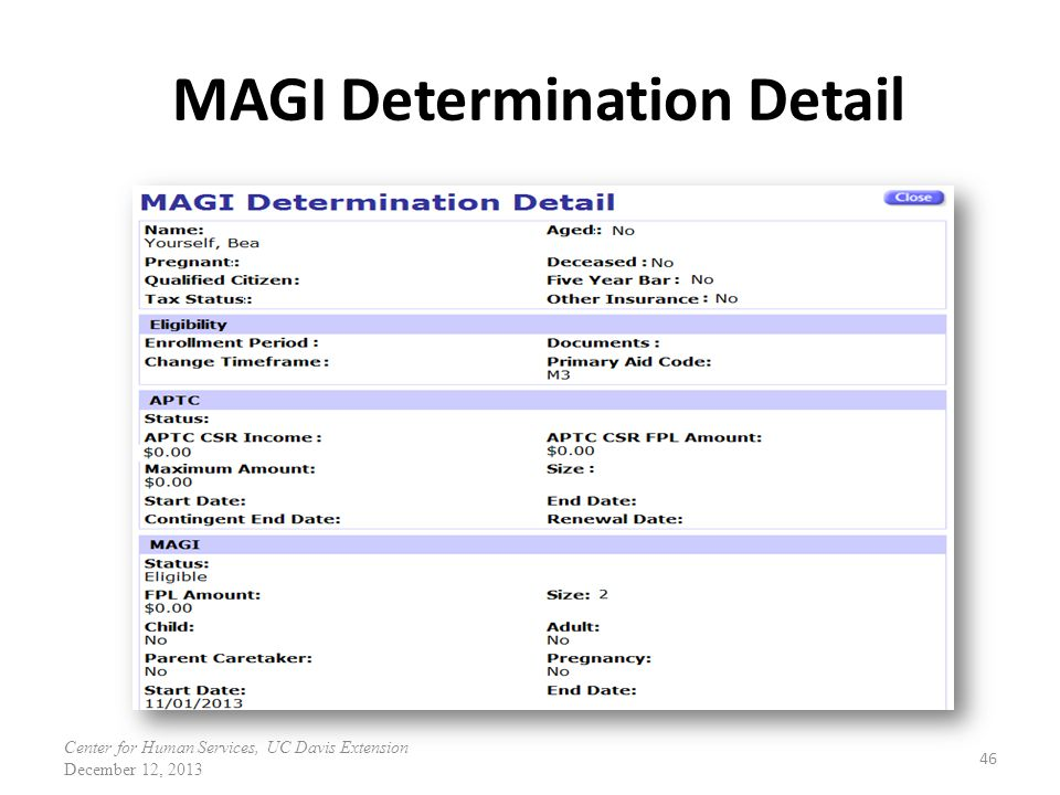 MAGI Determination Detail