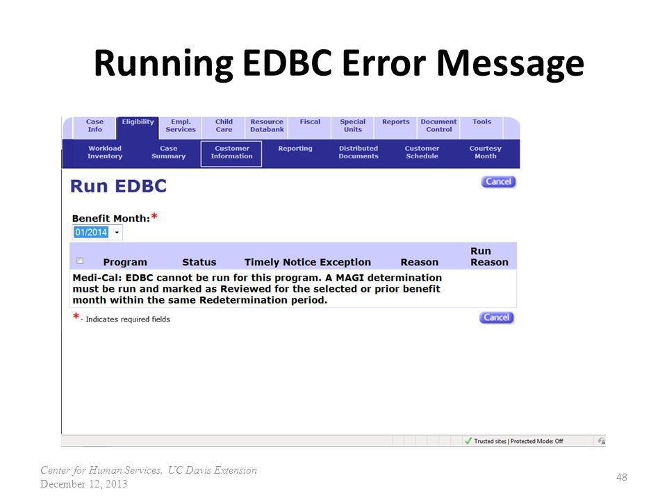 Running EDBC Error Message