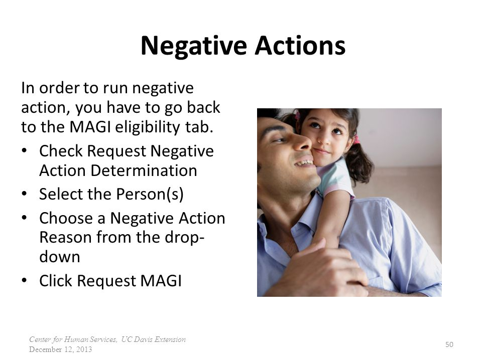 Negative Actions In order to run negative
