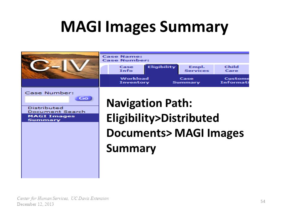 MAGI Images Summary Navigation Path: Eligibility>Distributed Documents> MAGI Images Summary.