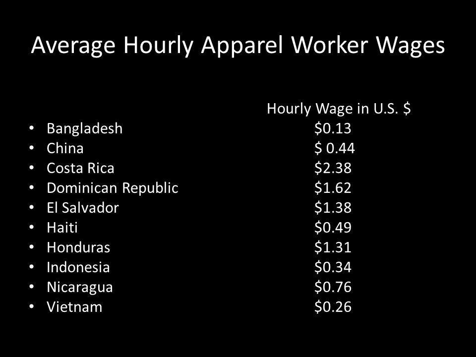 Average Hourly Apparel Worker Wages