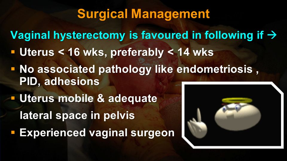 Surgical Management Vaginal hysterectomy is favoured in following if 