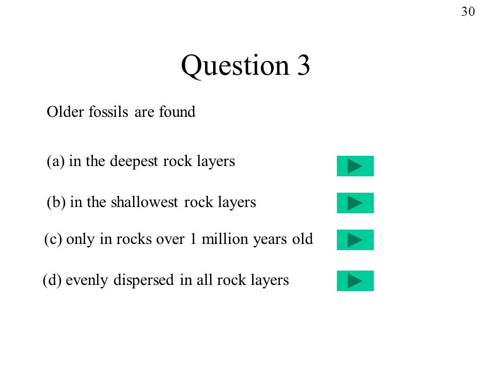 Question 3 Older fossils are found (a) in the deepest rock layers