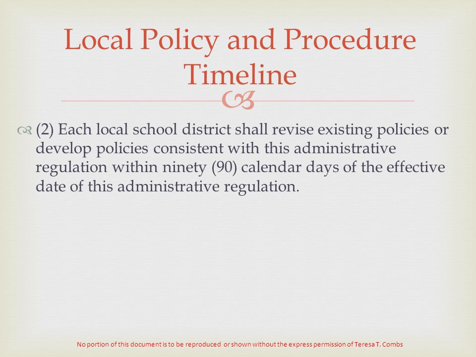 Local Policy and Procedure Timeline