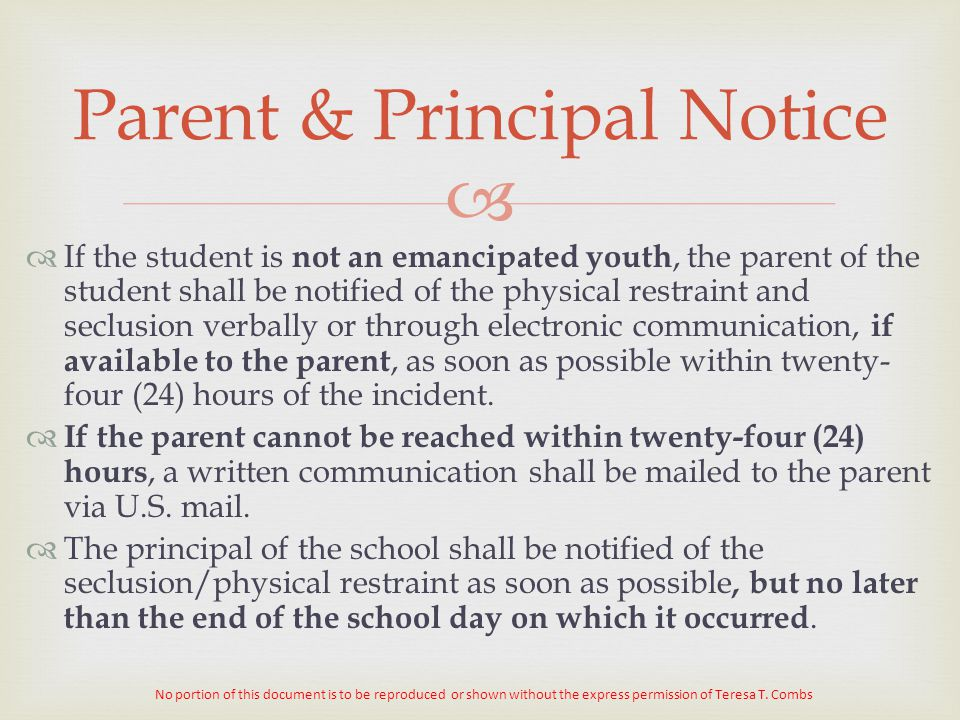 Parent & Principal Notice