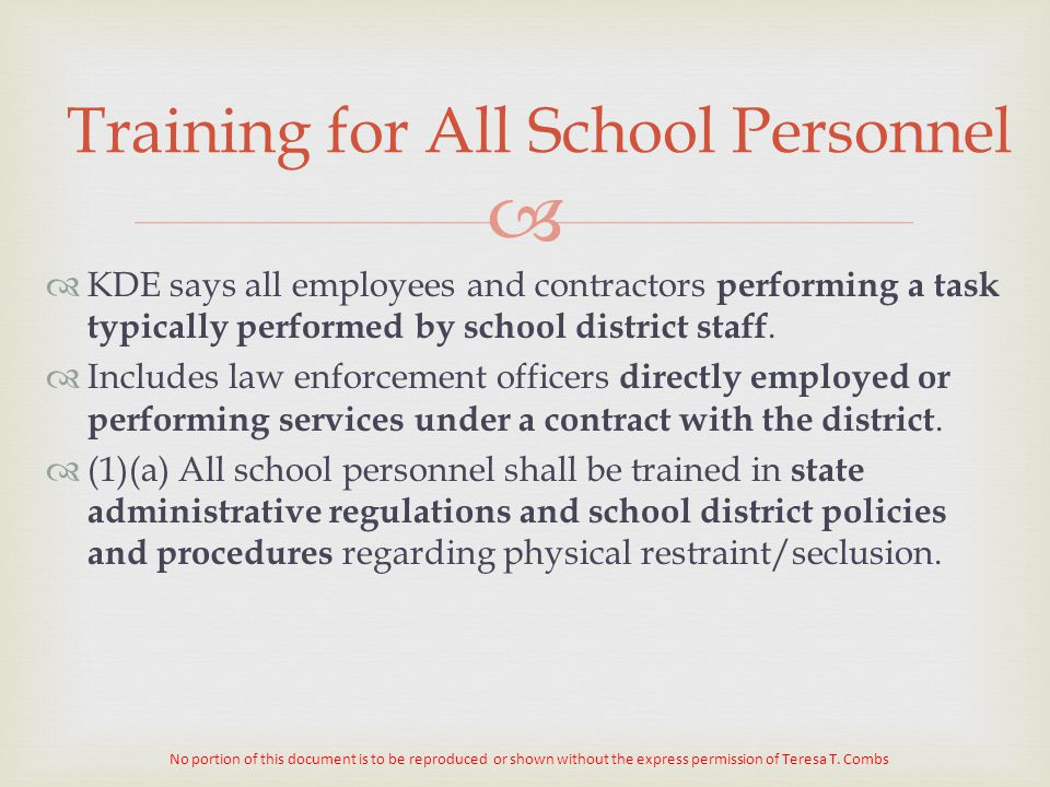 Training for All School Personnel
