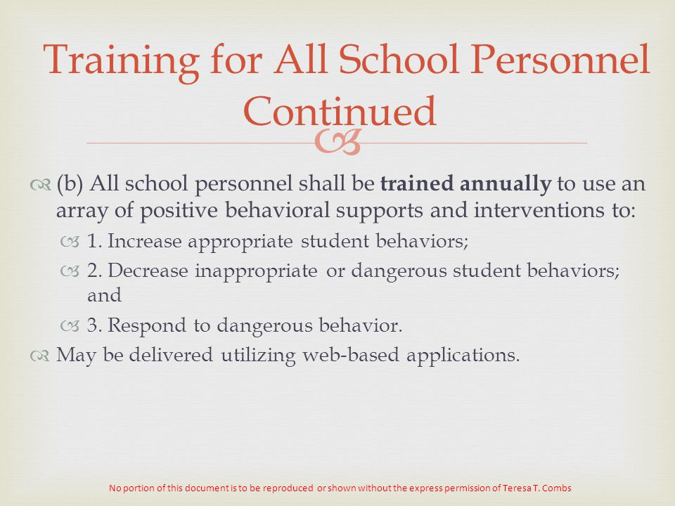 Training for All School Personnel Continued