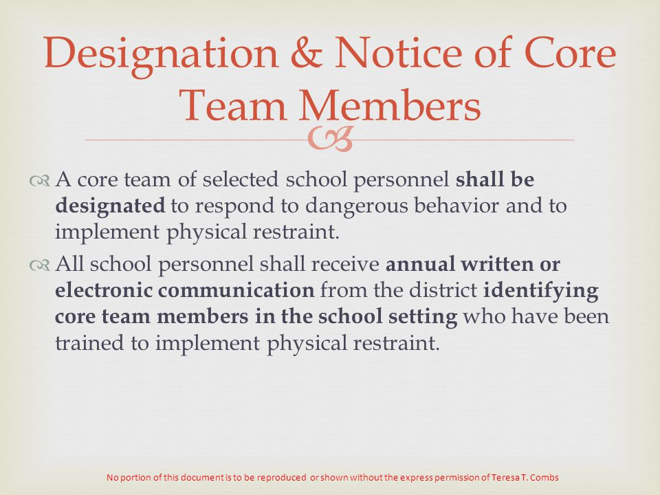 Designation & Notice of Core Team Members