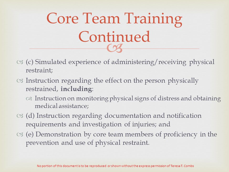 Core Team Training Continued