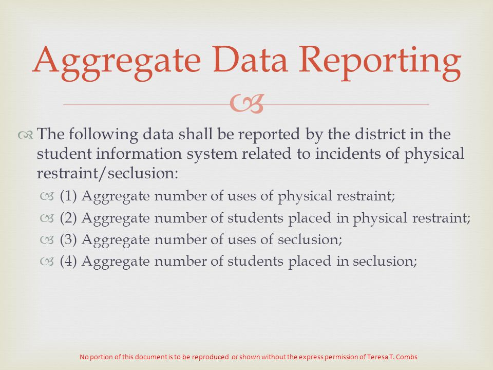 Aggregate Data Reporting