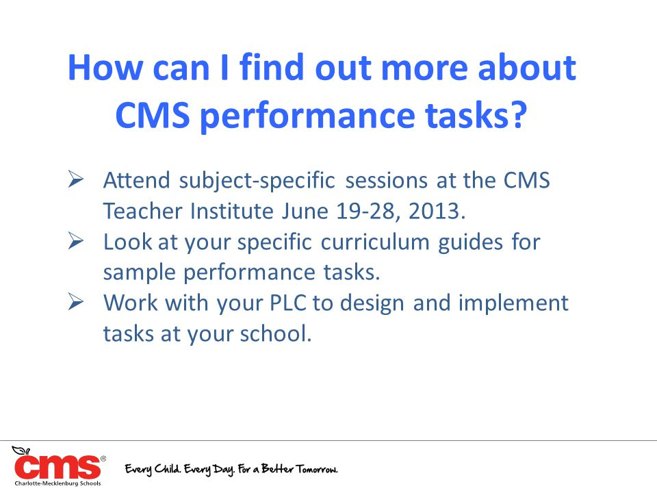 How can I find out more about CMS performance tasks