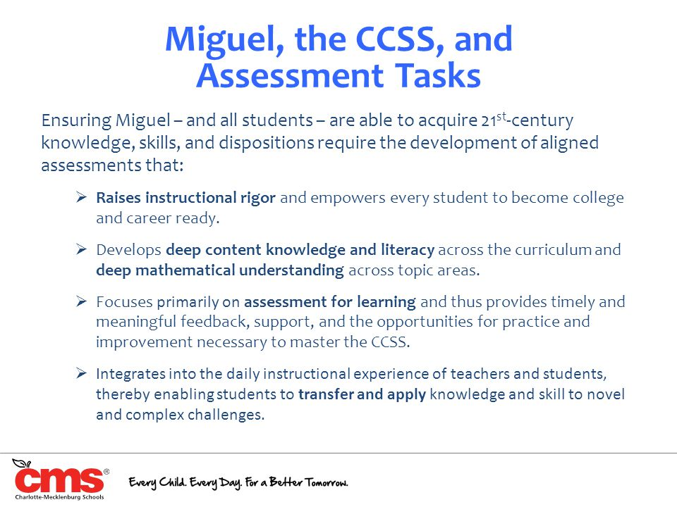 Miguel, the CCSS, and Assessment Tasks