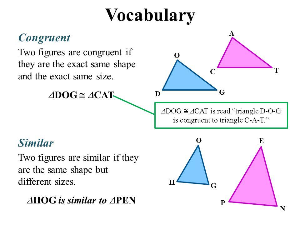 Vocabulary Congruent Similar