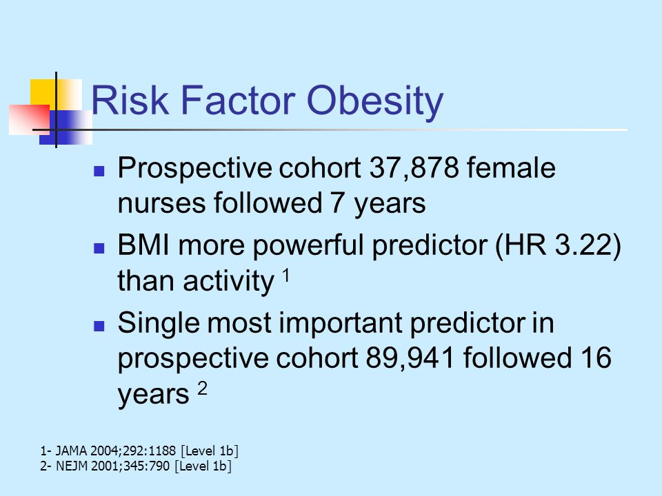 Risk Factor Obesity Prospective cohort 37,878 female nurses followed 7 years. BMI more powerful predictor (HR 3.22) than activity 1.