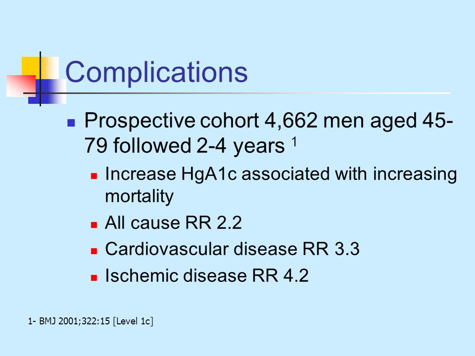Complications Prospective cohort 4,662 men aged 45-79 followed 2-4 years 1. Increase HgA1c associated with increasing mortality.