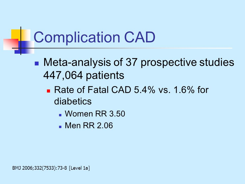 Complication CAD Meta-analysis of 37 prospective studies 447,064 patients. Rate of Fatal CAD 5.4% vs. 1.6% for diabetics.