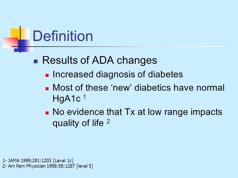 Definition Results of ADA changes Increased diagnosis of diabetes