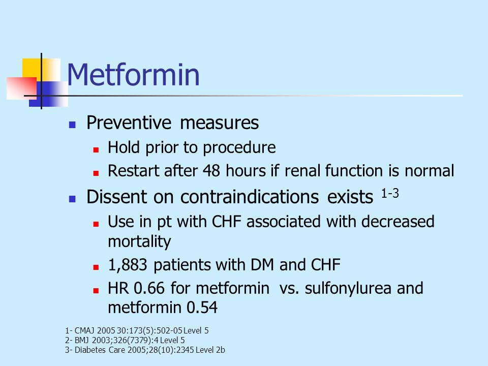 Metformin Preventive measures Dissent on contraindications exists 1-3