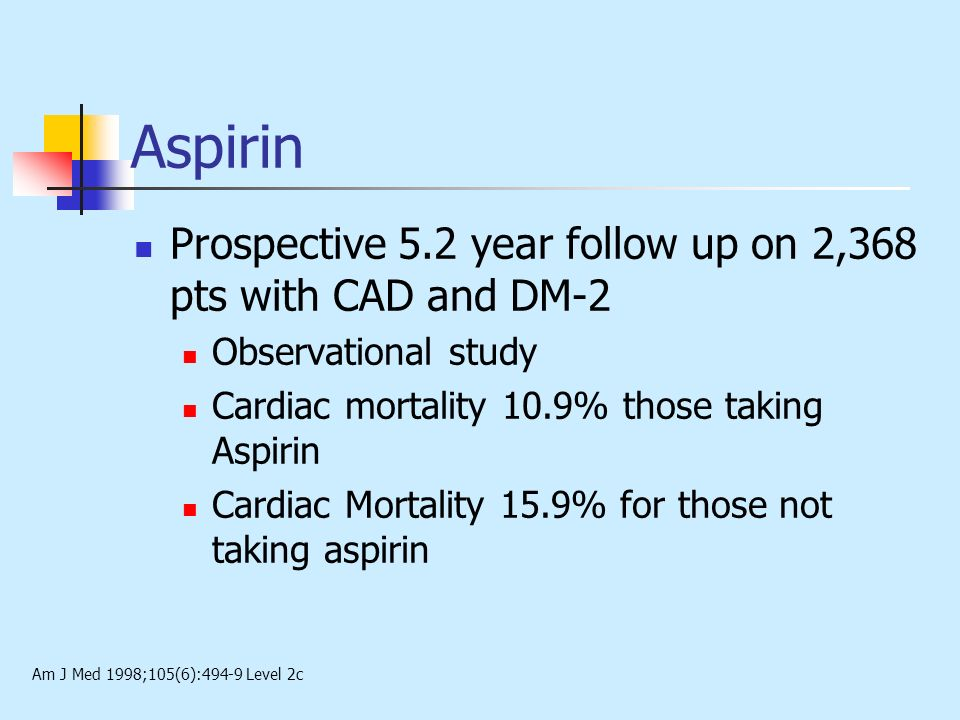 Aspirin Prospective 5.2 year follow up on 2,368 pts with CAD and DM-2