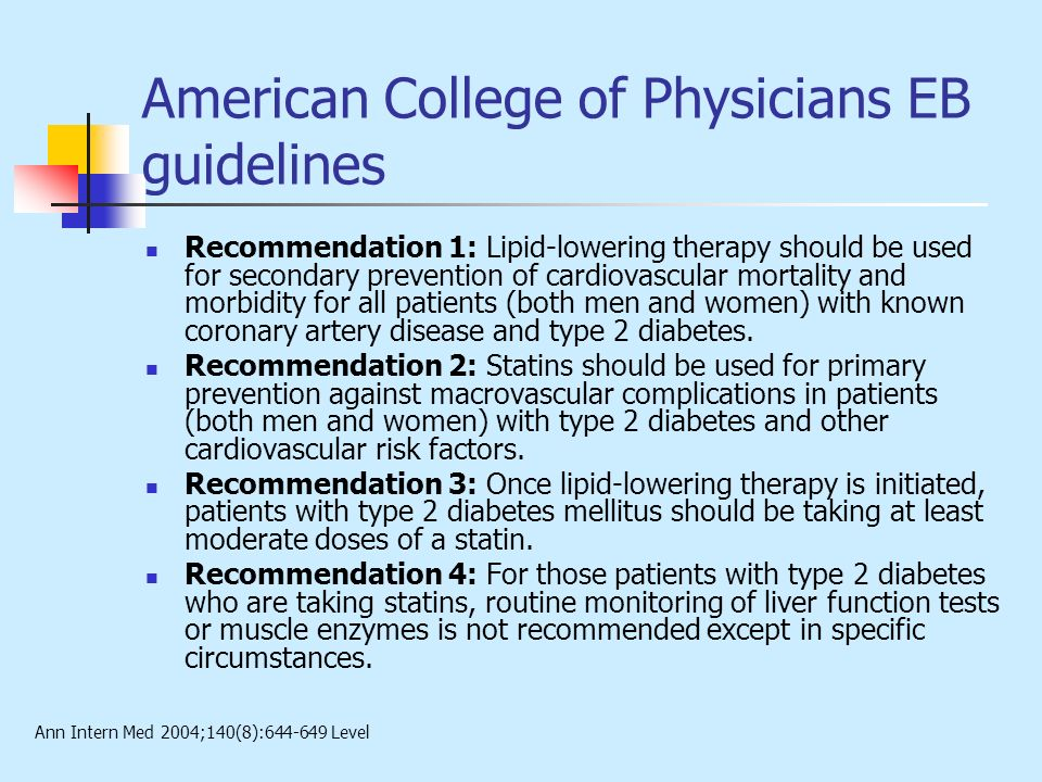 American College of Physicians EB guidelines
