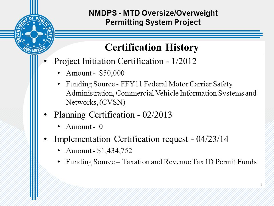 NMDPS - MTD Oversize/Overweight Permitting System Project