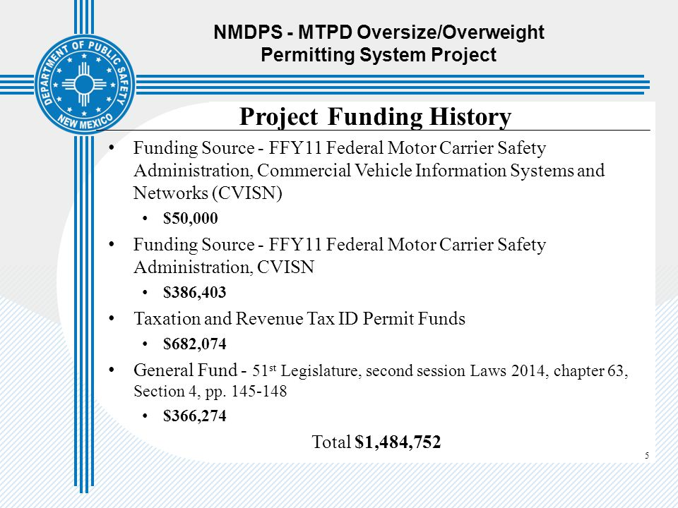 NMDPS - MTPD Oversize/Overweight Permitting System Project
