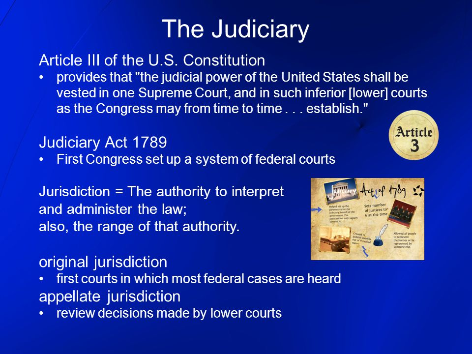 The Judiciary Article III of the U.S. Constitution Judiciary Act 1789