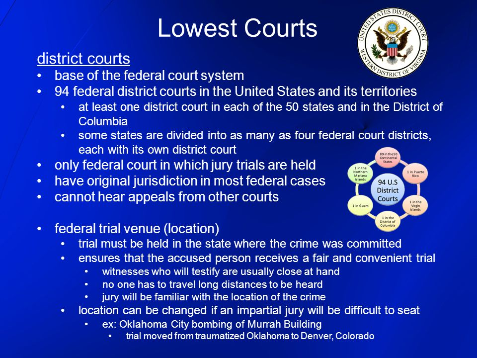 Lowest Courts district courts base of the federal court system