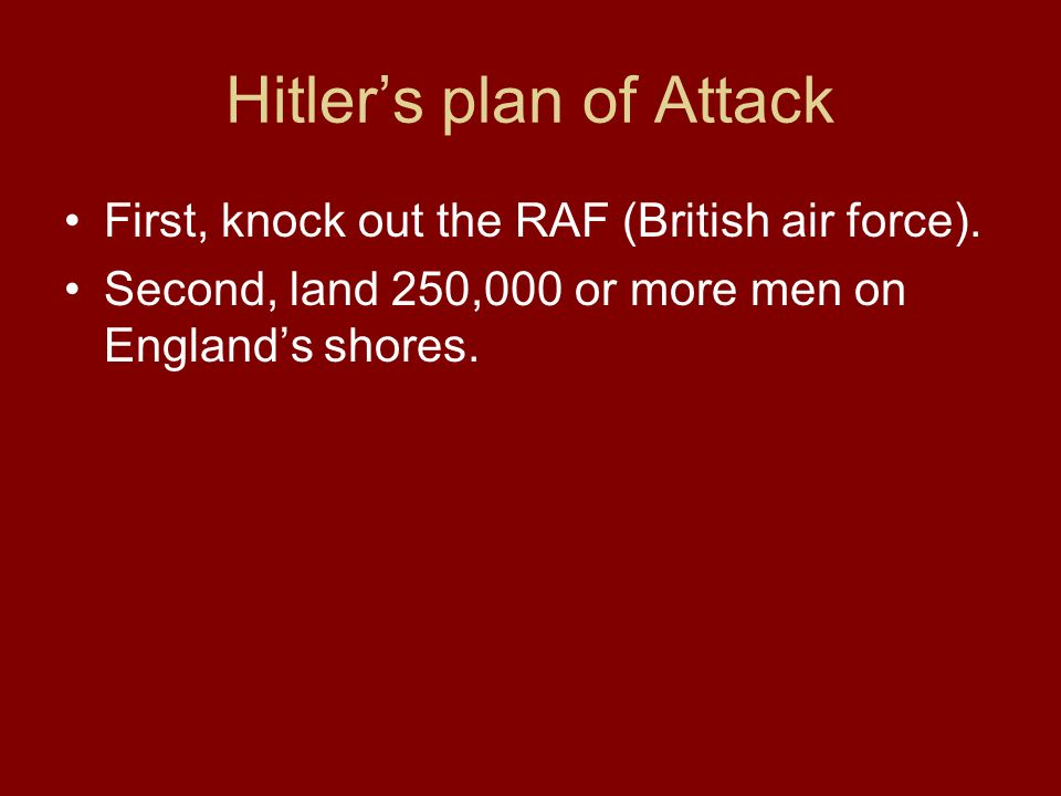 Hitler's plan of Attack