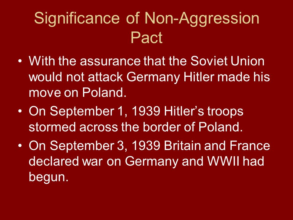 Significance of Non-Aggression Pact