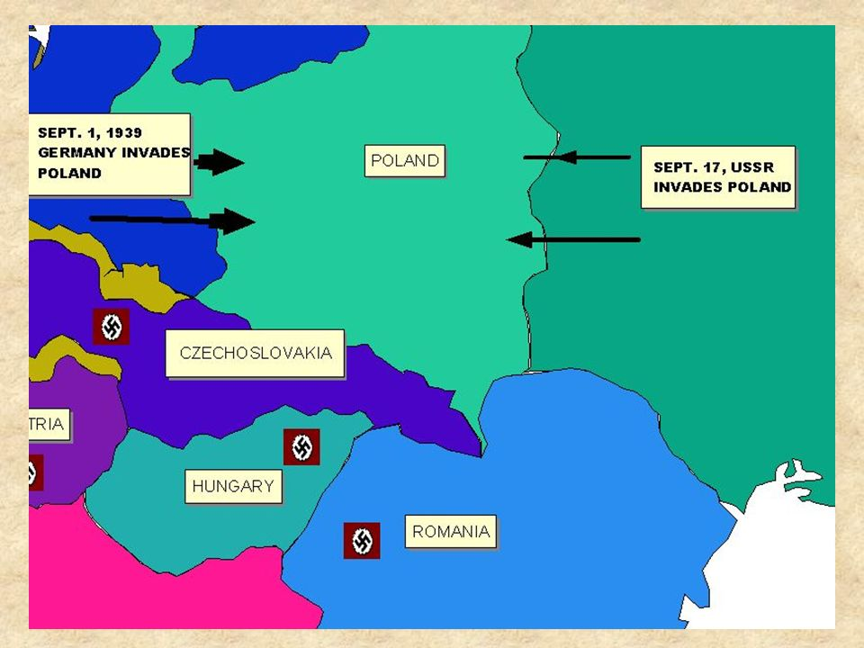 ON SEPTEMBER 17 THE USSR, IN ACCORDANCE WITH THE NONAGGRESSION PACT, INVADED POLAND FROM THE EAST.