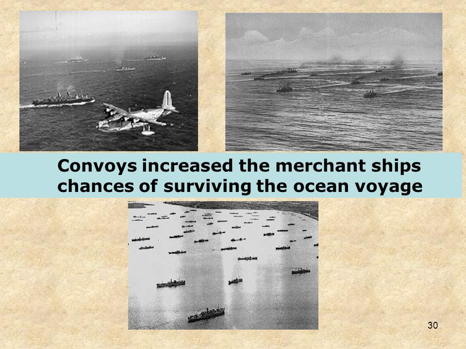 Convoys increased the merchant ships chances of surviving the ocean voyage