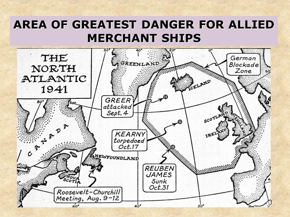 AREA OF GREATEST DANGER FOR ALLIED MERCHANT SHIPS