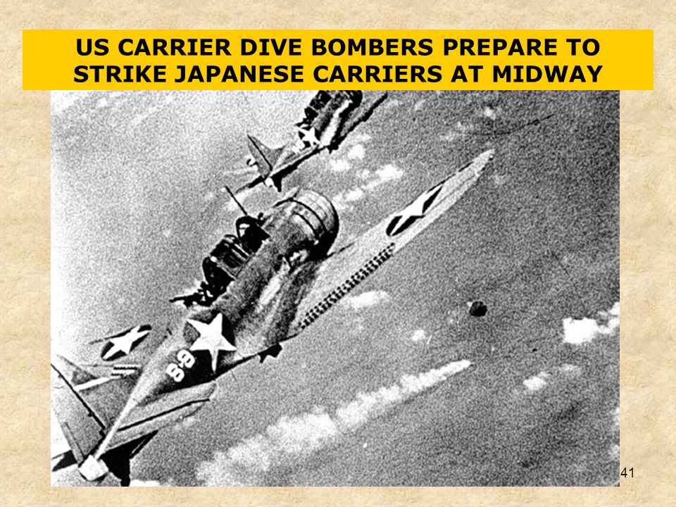 US CARRIER DIVE BOMBERS PREPARE TO STRIKE JAPANESE CARRIERS AT MIDWAY