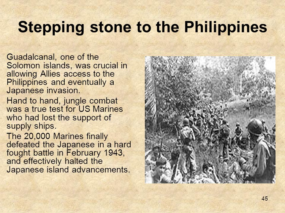 Stepping stone to the Philippines