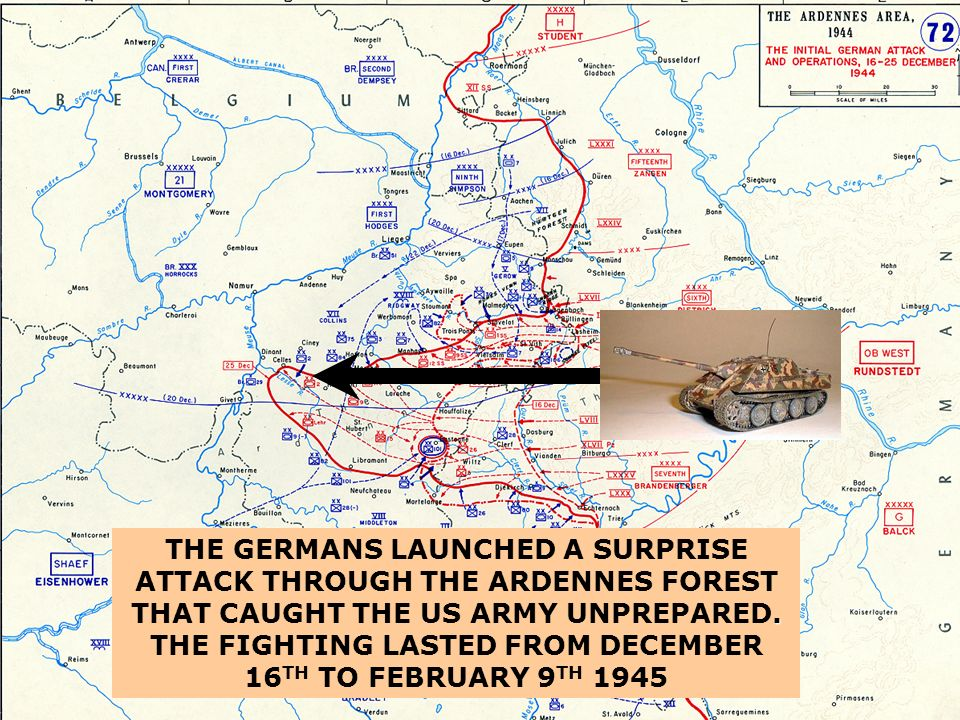 THE GERMANS LAUNCHED A SURPRISE ATTACK THROUGH THE ARDENNES FOREST THAT CAUGHT THE US ARMY UNPREPARED.