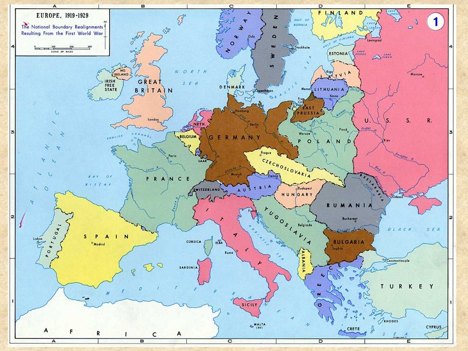 MAP OF EUROPE AFTER WORLD WAR I