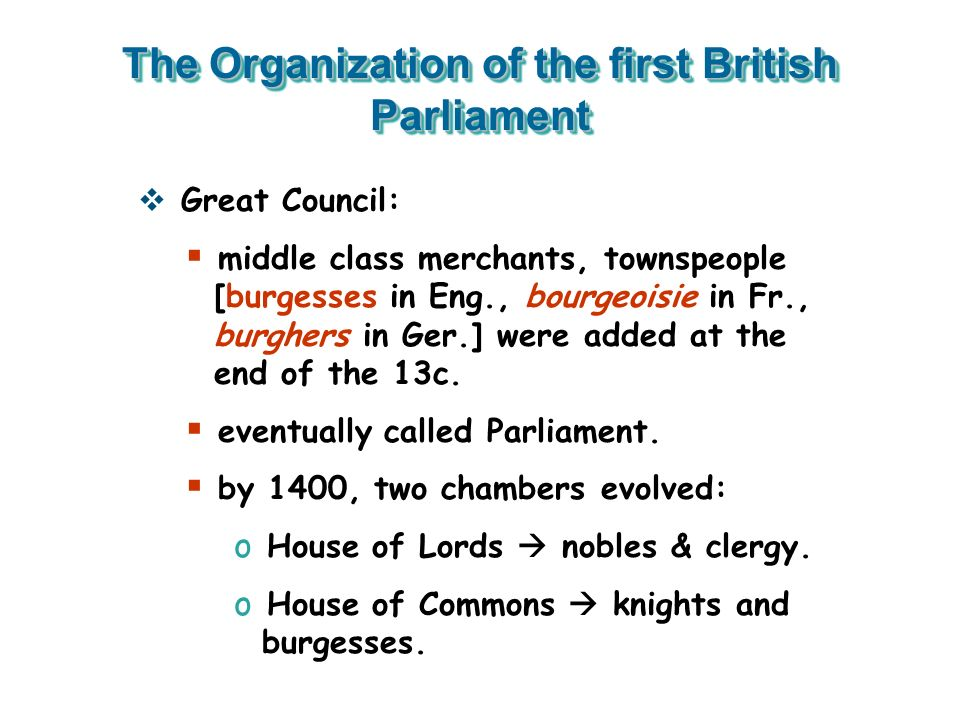 The Organization of the first British Parliament