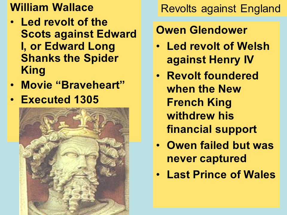 William Wallace Led revolt of the Scots against Edward I, or Edward Long Shanks the Spider King. Movie Braveheart