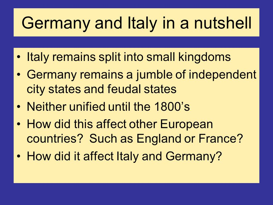 Germany and Italy in a nutshell