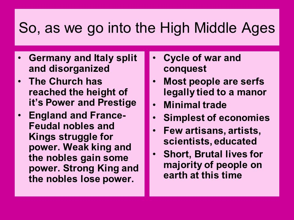 So, as we go into the High Middle Ages